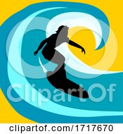Surfer Silhouette Over Abstract Wave Background