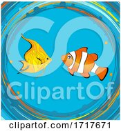Tropical Fishes Clip Art Hand Drawn Background