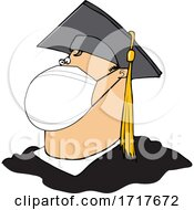 Cartoon Coronavirus Graduate Wearing A Mask