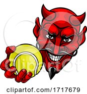 Devil Satan Tennis Ball Sports Mascot Cartoon by AtStockIllustration