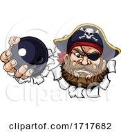 Pirate Ten Pin Bowling Ball Sports Mascot Cartoon