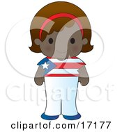 Cute Puerto Rican Girl Wearing A Flag Of Puerto Rico Shirt Clipart Illustration