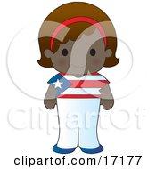 Cute Puerto Rican Girl Wearing A Flag Of Puerto Rico Shirt