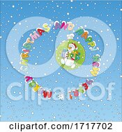 Poster, Art Print Of Snowman In A Bulb With Merry Christmas And Happy New Year Over Snow