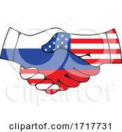 Russian And American Flag Hands Shaking