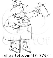 Poster, Art Print Of Drunk Old Man Wearing A Mask And Walking With A Cane And Beer Stein At Oktoberfest