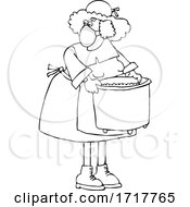 Pilgrim Woman Wearing A Mask And Carrying A Pot Black And White