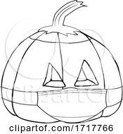 Poster, Art Print Of Covid Halloween Jackolantern Pumpkin Wearing A Mask Black And White