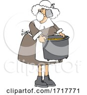 Pilgrim Woman Wearing A Mask And Carrying A Pot