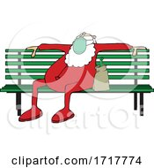 Drunk Santa Sitting On A Bench In His PJs And A Mask
