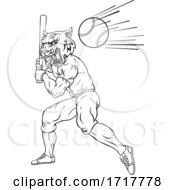 Tiger Baseball Player Mascot Swinging Bat At Ball