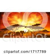 Poster, Art Print Of African Safari Animal Silhouettes Landscape Scene