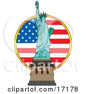 The Statue Of Liberty In Front Of An American Flag On Independence Day Clipart Illustration