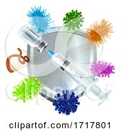 Poster, Art Print Of Medical Injection Vaccination Syringe Vial Shield