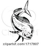 Mahi Mahi Or Common Dolphinfish Diving Down Retro Black And White