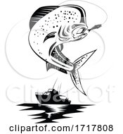 Mahi Mahi Dorado Dolphinfish Jumping Up With Fishing Boat Retro Black And White