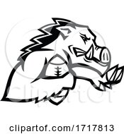 Poster, Art Print Of Wild Boar Or Razorback With American Football Ball Mascot Black And White