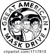 Poster, Art Print Of American Children Of Different Ethnicity Wearing Face Mask Circle Retro Black And White