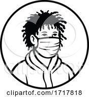 Poster, Art Print Of Black Boy Wearing Face Mask Front View Retro Black And White
