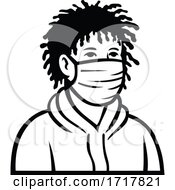 Black Boy Wearing Face Mask Front View Retro Black And White