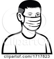 Asian Teenage Boy Wearing Face Mask Front View Retro Black And White