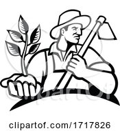 Poster, Art Print Of Organic Farmer Holding Plant And Grab Hoe Mascot Black And White