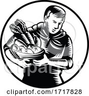 Retro Woodcut Organic Farmer With Produce In Black And White