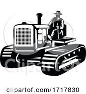 Farmer Driving Vintage Farm Tractor Side View Retro Black And White
