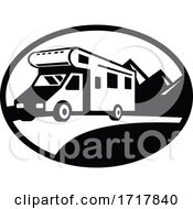Campervan Motorhome Caravan Van On Road With Mountains Oval Black And White