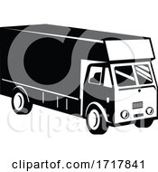 Delivery Van Viewed From A High Angle Retro Black And White