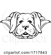 Super Labrador Dog Wearing Cape Front View Black And White