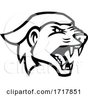 Head Of An Angry Honey Badger Mascot Black And White