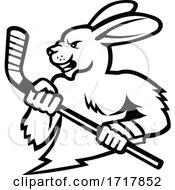 Jackrabbit With Ice Hockey Stick Mascot Black And White
