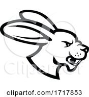 Poster, Art Print Of Angry Jackrabbit Hare Rabbit Head Side View Mascot Black And White