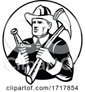 Fireman Holding Fire Axe And Hose Circle Woodcut Retro Black And White