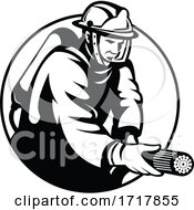 Firefighter Fireman First Responder Aiming Fire Hose Circle Retro Black And White