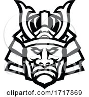 Head Of Samurai Warrior Wearing Mengu Or Mempo Mascot Black And White