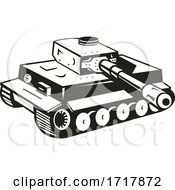 World War Two German Panzer Tank Retro Black And White by patrimonio