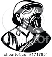 Gasman Wearing A Hardhat And Gas Mask Looking Up Retro Black And White