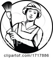 Maid Cleaner Holding Duster Front View Circle Retro Black And White