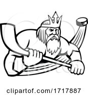 Poseidon With Ice Hockey Stick And Puck Sports Mascot Black And White