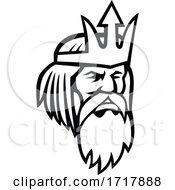 Poster, Art Print Of Head Of Poseidon Or Neptune Looking To Side Mascot Black And White