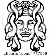 Head Of Medusa Greek Goddess Front View Mascot Black And White