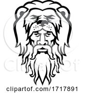 Hercules Wearing Lion Skin Head Mascot Black And White