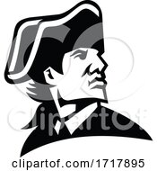 American Revolution General Looking To Side Mascot Black And White