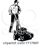 Gardener Mowing With Lawnmower Front View Woodcut Black And White
