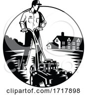 Poster, Art Print Of Gardener Mowing With Lawnmower And House Circle Woodcut Black And White