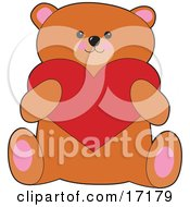 Sweet Brown Teddy Bear Holding A Red Heart On Valentines Day Clipart Illustration