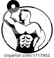 Muscular Bodybuilder Lifting Dumbbell Viewed From Side Circle Retro Black And White