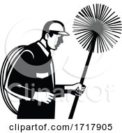 Chimney Sweeper Holding A Sweep Or Broom And Rope Side View Retro Black And White
